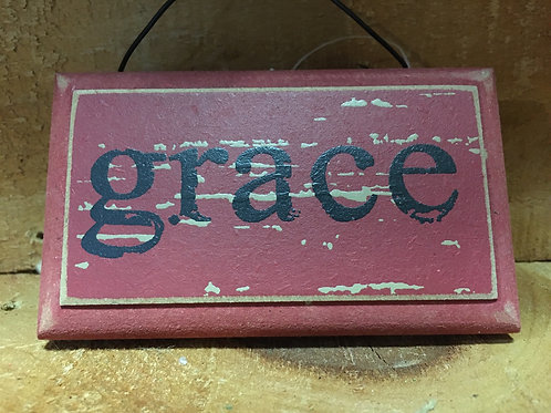 Grace Wooden Sign Christmas Tree Ornament