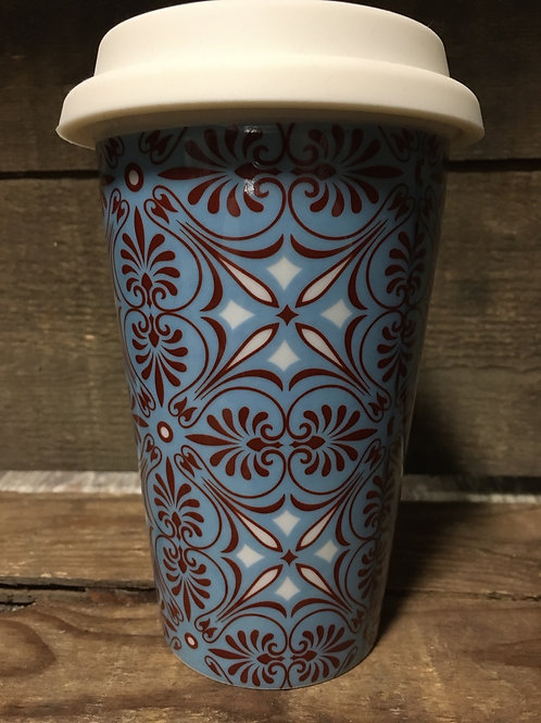 Blue Patterned Ceramic Travel Mug with Silicone Lid