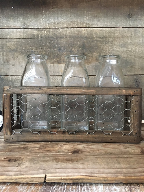 """10"""" x 6.75"""" x 3.75"""" Glass Bottles in Metal Caddy by Great Finds"""