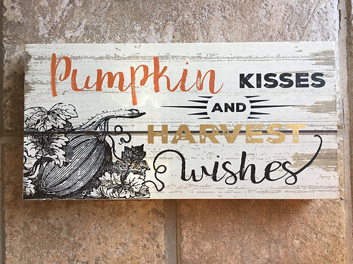 """""""Pumpkins, Kisses, and Harvest Wishes"""" - 9"""" x 4.75"""" x 2"""" Wood Block with Hanger"""
