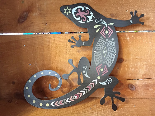 """10"""" x 9.5"""" Metal Gecko"""