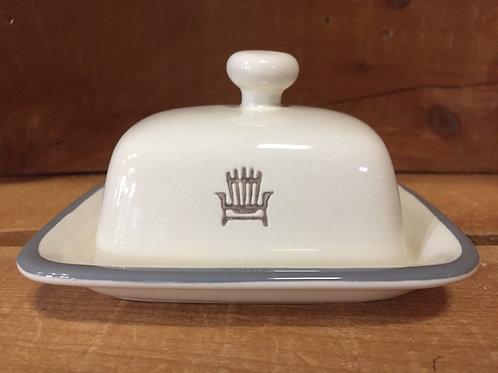 "4.75"" x 4.25"" x 3"" Ivory with Muskoka Chair Ceramic Butter Dish by Abbott"