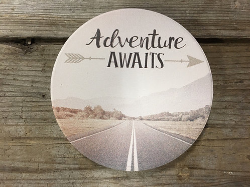 """""""Adventure Awaits"""" Highway Road 3"""" x 3"""" Slate Car Coaster by Carson Home Accents"""