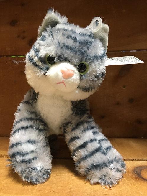 "7"" Lily Tabby Grey Cat Aurora Brand Plush Stuffed Animal"