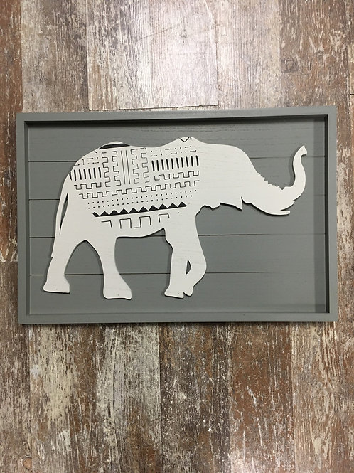 """8"""" x 12"""" Wood Framed Elephant Picture by Young's Inc"""