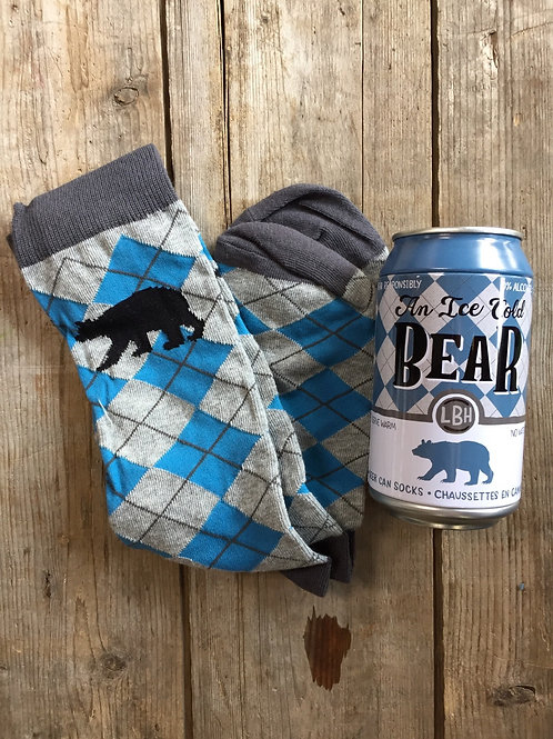 """""""An Ice Cold Bear"""" Beer Can O/S Men's Socks by Little Blue House by Hatley"""