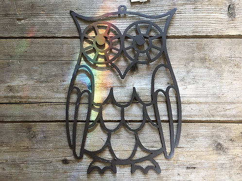 """10"""" x 6.75"""" Owl Hanging Metal Wall Art by Koppers Imports"""