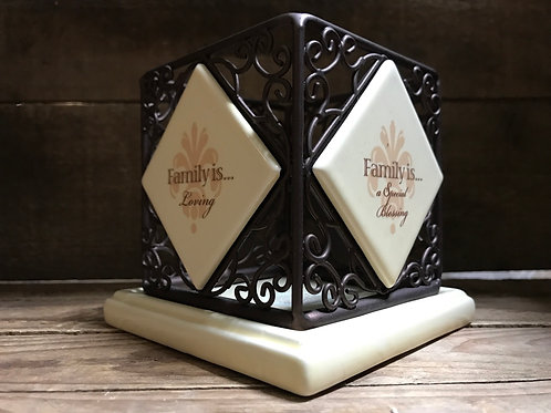 """""""Family is…"""" 4.25"""" x 4.25"""" x 4"""" Metal and Ceramic Two Piece Candle Holder"""