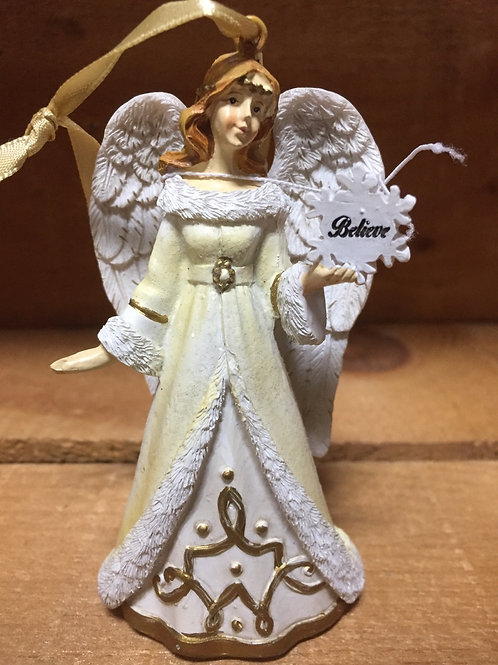 "Angel Ornament - Believe - 4"" x 2.5"" x 1.5"""