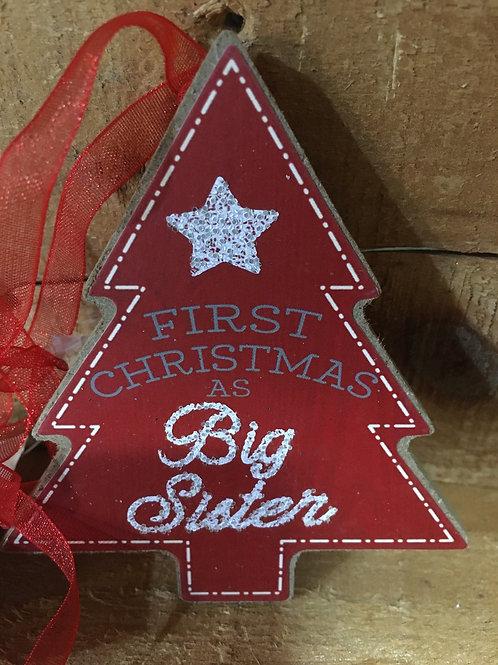 """Big Sister"" Wooden Christmas Tree Ornament"