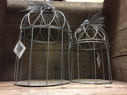 Set of 2 Glittery Bird Cage Decoration