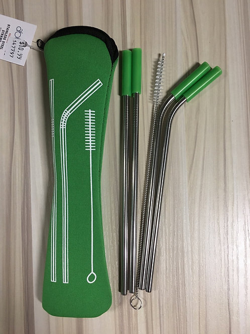 Set of 4 Silicone Tipped Stainless Steel Straws with Cleaner