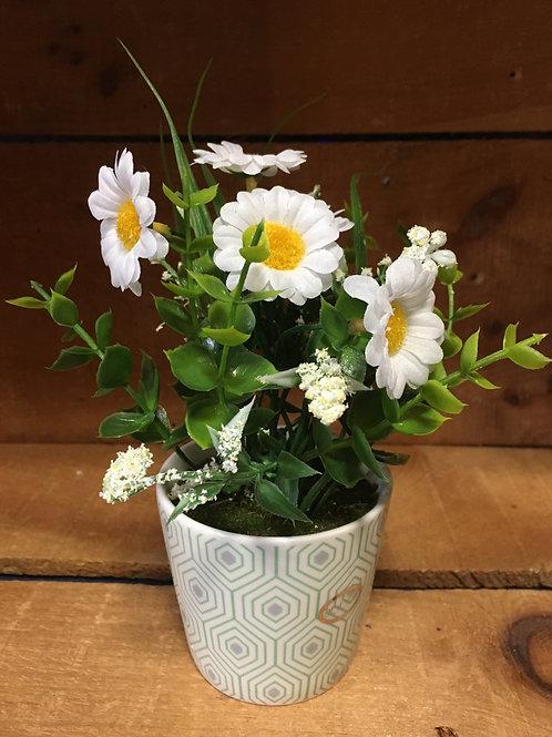 "7"" x 3"" x 3"" Plastic Floral Arrangement in Ceramic Pot by Abbott"