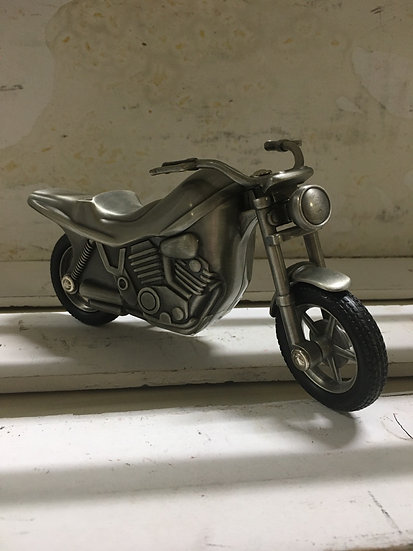 Small Pewter Motorcycle Piggy Bank