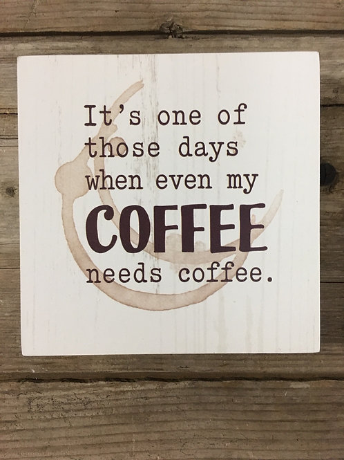 Coffee Wood Block Sign