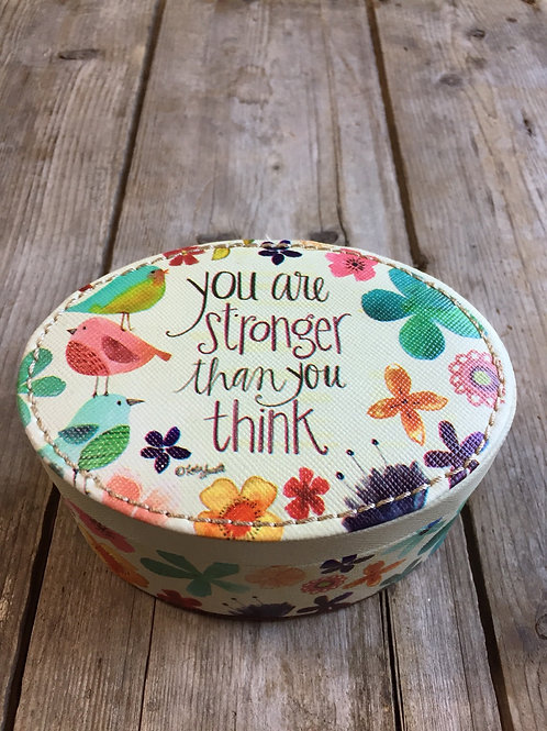 """""""You Are Stonger..."""" 4.75"""" x 3.75"""" x 2.5"""" Trinket Jewelry Box by Brownlow Gifts"""