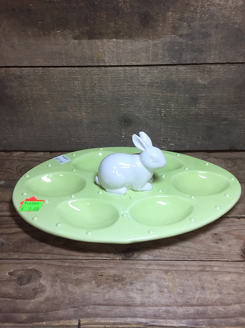 """10.5"""" x 8.5"""" Egg Display Tray Plate with Bunny Rabbit by Abbott"""