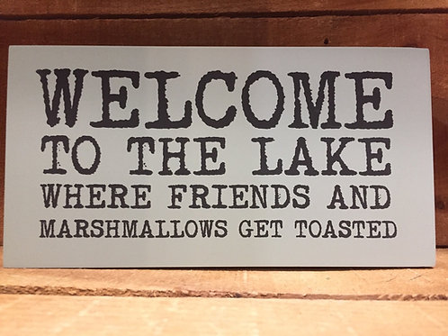 """9.5"""" x 5"""" x 2"""" """"Welcome to the Lake..."""" Wood Block Sign by Abbott"""