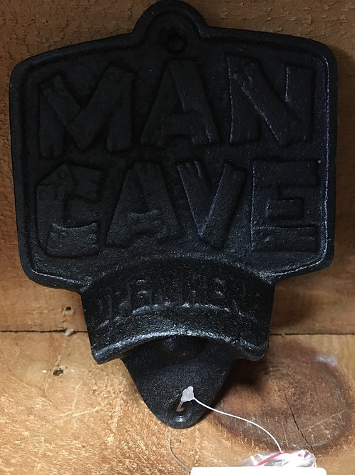 """Black """"Man Cave"""" Cast Iron Wall Mounted Bottle Opener"""