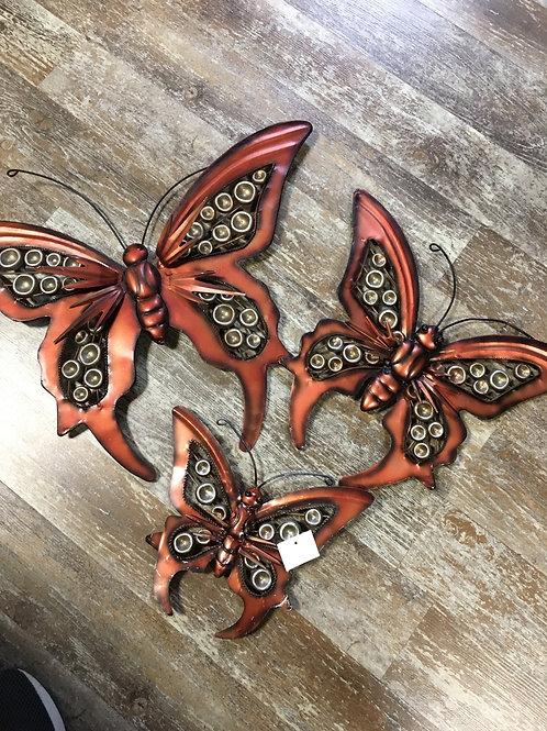 3pc Metal Butterfly Wallart