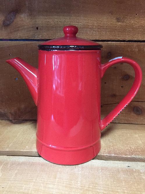 "8.75"" x 8.25"" x 4.5"" Red Ceramic Teapot by Abbott"