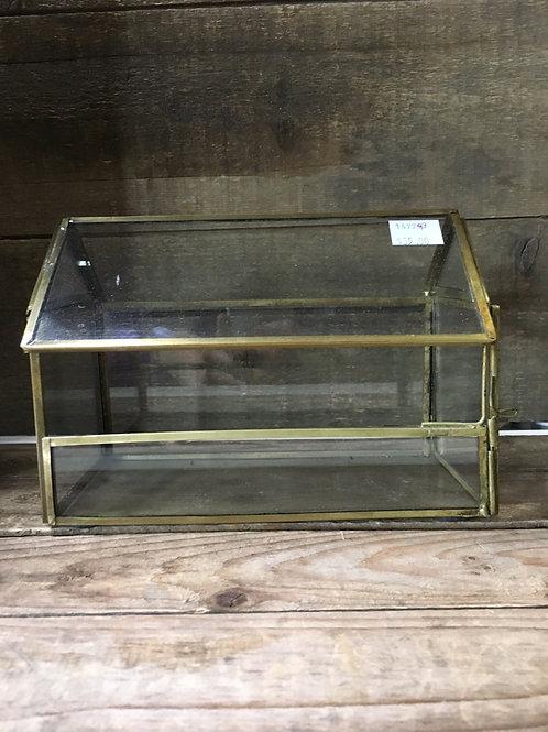 "7.25"" x 5"" x 5"" Glass and Metal Terrarium by Abbott"