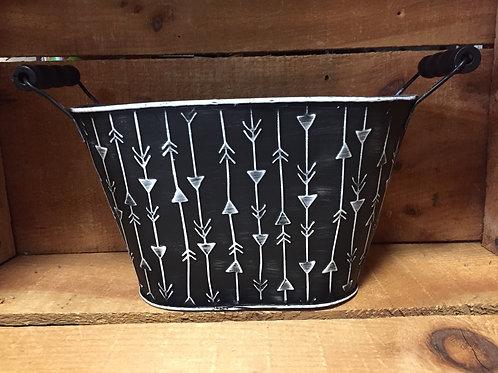 """Black Striped 9"""" x 5.5"""" x 5.25"""" Metal Planter Basket"""