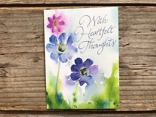 """""""With Heartfelt Thoughts"""" 5"""" x 3.75"""" Little Jeanie Greeting Card by Hazy Jean"""