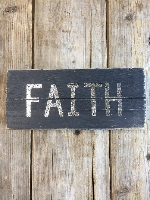 """""""Faith"""" 8"""" x 3.5"""" x 1.5"""" Hanging or Sitting Wooden Sign by Koppers Imports"""