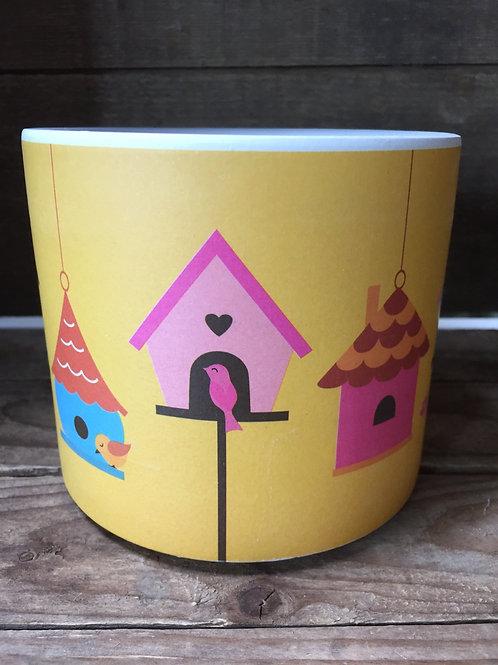 "4.5"" x 4.5"" x 4.25"" Yellow Birdhouse Clay Planter by Abbott"