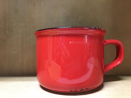 Red Enamel Look Ceramic Mug