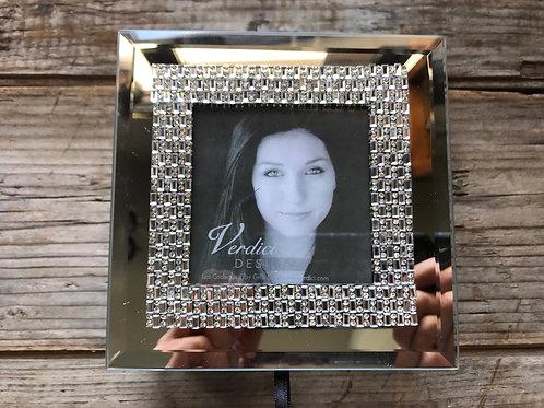 "5"" x 5"" x 2.5 Mirrored Jewelry Box with Photo Insert by Verdici"