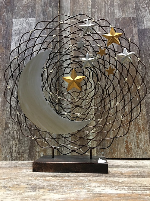 "18.5"" x 17"" x 4"" Metal Light Up Moon and Stars by Grassland Roads"
