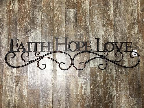 """41"""" x 10"""" """"Faith Hope Love"""" Metal Wall Decor"""