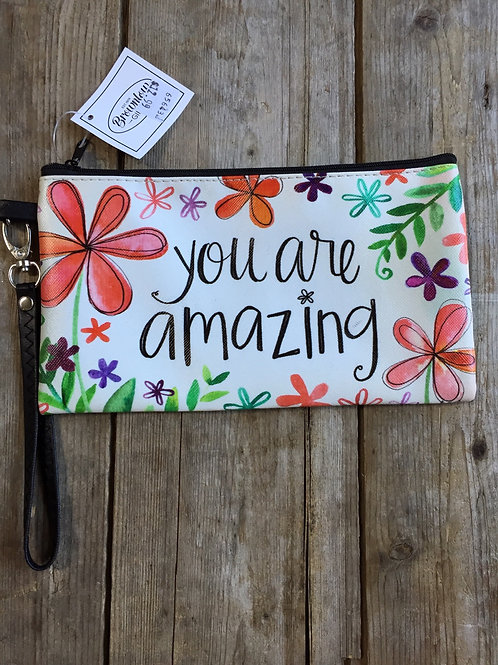 """""""You Are Amazing"""" 8.5"""" x 5"""" Vinyl Zippered Bag with Strap by Brownlow Gifts"""