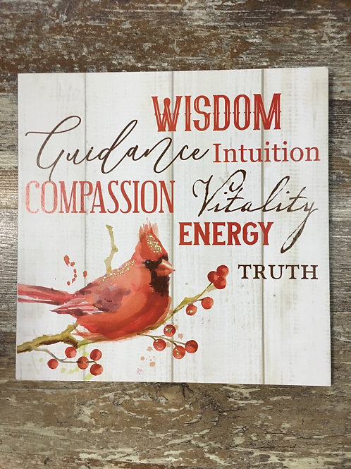 """""""Wisdom, Guidance, Intuition,..."""" Cardinal 9.5"""" x 9.5"""" Wood Sign by GiftCraft"""
