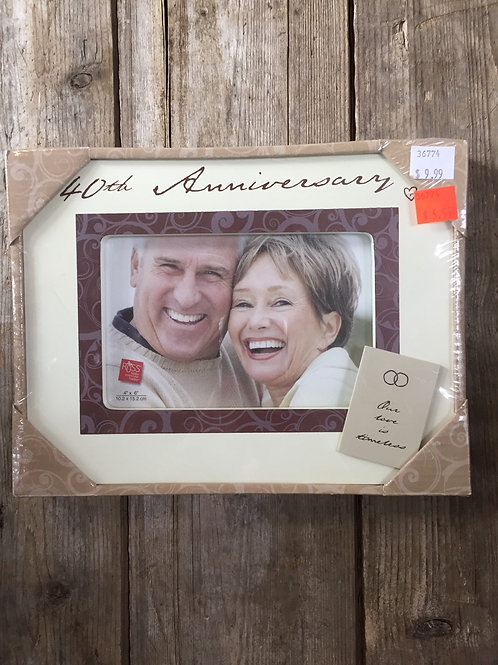 """""""40th Anniversary"""" 9""""x 7"""" Wood 4x6 Photo Picture Frame by Russ"""