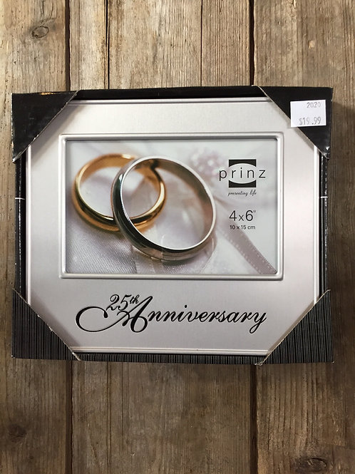"""""""25th Anniversary"""" 8"""" x 6.5"""" Metal 4x6 Photo Picture Frame by Prinz at Home"""