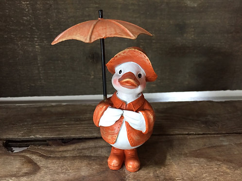 "4"" x 2.5"" x 2"" Orange Duck with an Umbrella Figurine by GiftCraft"