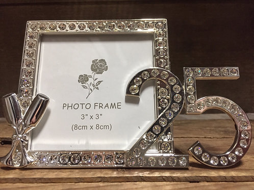 """25"" Rhinestone 3"" x 3"" Photo Frame"