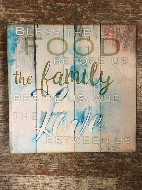"""""""Bless the food..."""" Wall Sign - 6"""" x 6"""""""