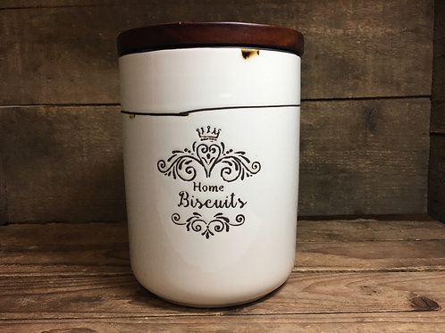 """""""Home Biscuits"""" 6.25"""" x 4.75"""" x 4.75"""" Ceramic Canister with Wood Lid by Koppers"""