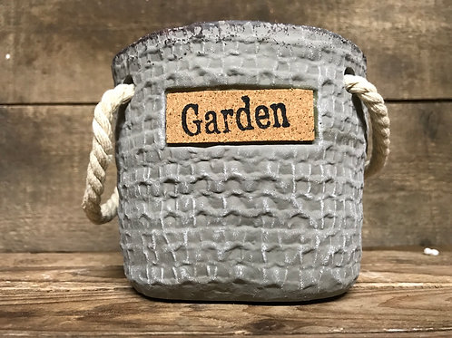 """5"""" x 5"""" x 4"""" """"Garden"""" Concrete Planter with Rope Handles and Drainage Hole"""