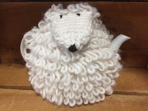 "9"" x 7"" x 7"" White Ceramic Teapot with Sheep Cosy by Abbott"