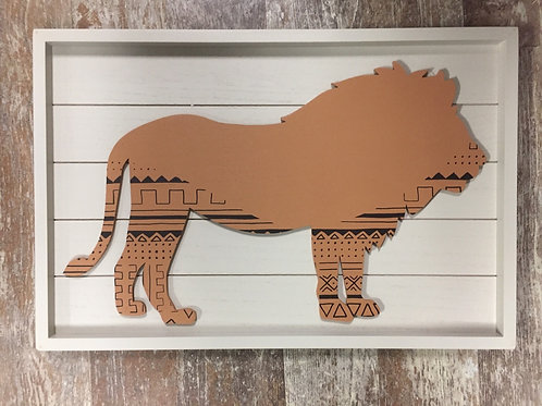"""8"""" x 12"""" Wood Framed Lion Picture"""