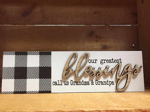 "Blessings 10.25"" x 3"" Wood Block Sign"