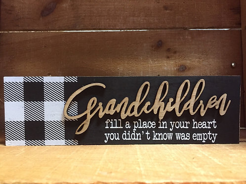 "Grandchildren 10.25"" x 3"" Wood Block Sign"