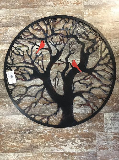 """24"""" Metal Tree of Life Circle with Cardinals"""