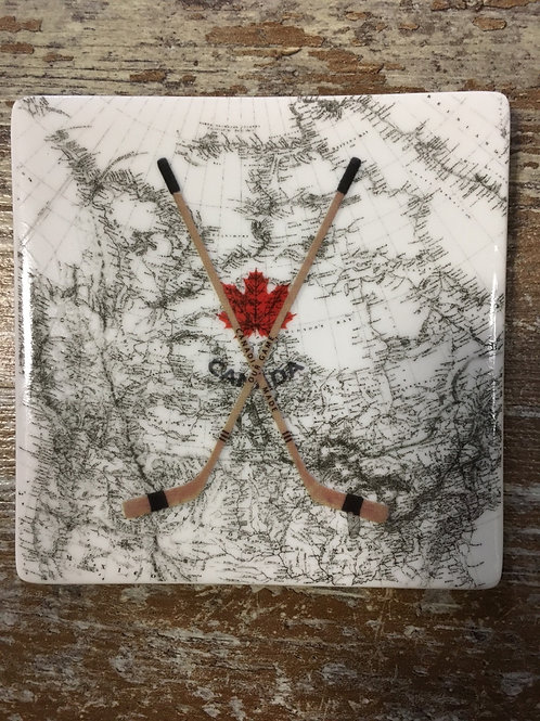Hockey Sticks Canada Map Ceramic Coaster