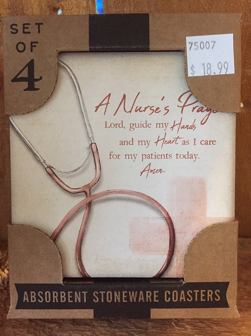 """A Nurse's Prayer"" Set of 4 Absorbent Stone Coasters"